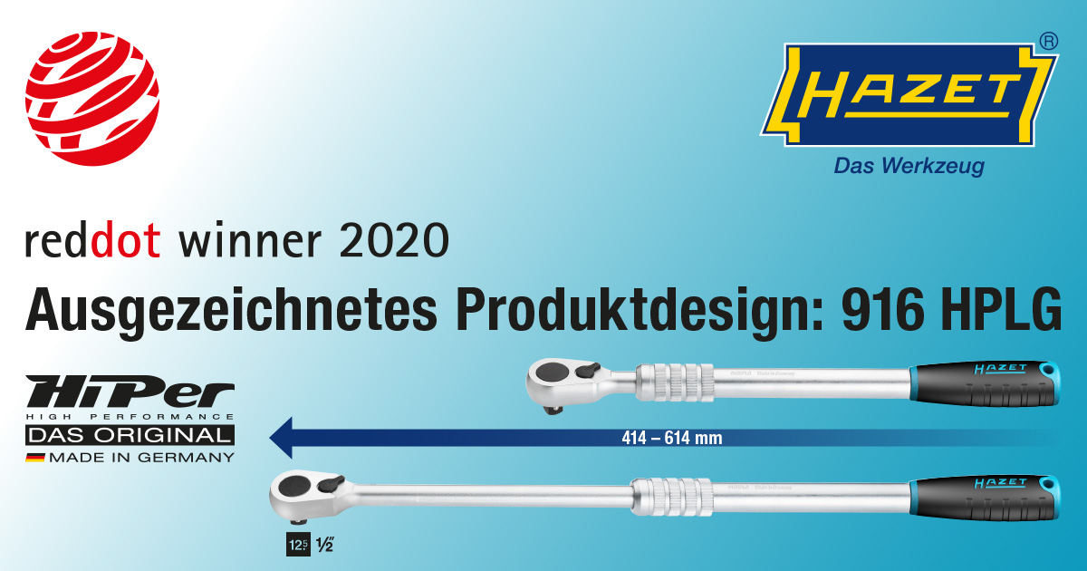 HAZET continuously adjustable HiPer fine-tooth reversible ratchet wins Red Dot 2020 for outstanding design quality