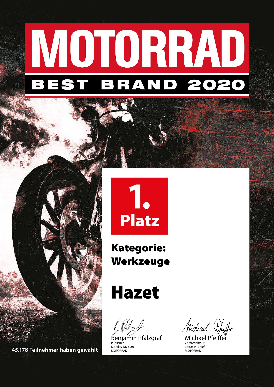 """Seriensieger – HAZET auch 2020 zum 15. Mal in Folge zur """"Best Brand"""" gewählt"""