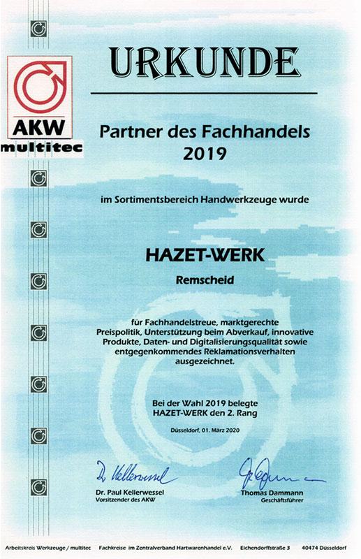 HAZET distinguée «Partenaire du commerce enclavé» 2019
