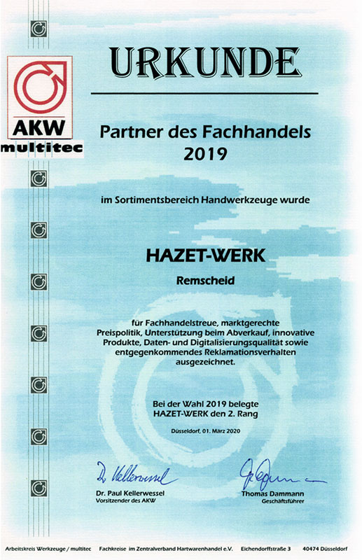 """HAZET distinguished as a """"B2B trade partner"""" in 2019"""