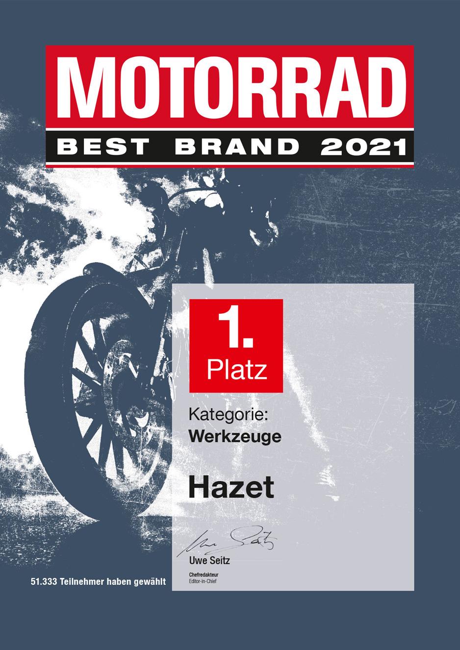 """Seriensieger – HAZET auch 2021 zum 16. Mal in Folge zur """"Best Brand"""" gewählt"""