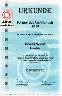 """HAZET als ein """"Partner des PVH"""" 2019 ausgezeichnet"""